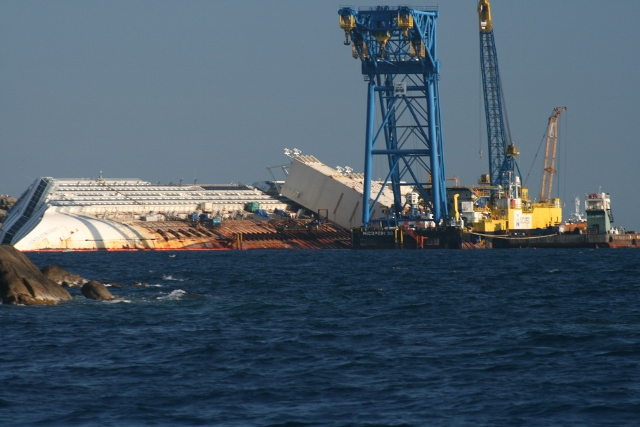 At work on the Costa Concordia