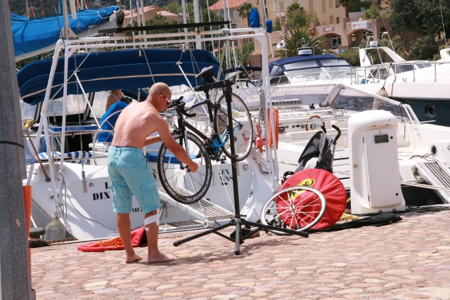 Triathlete at work - note that this was all stored on the boat