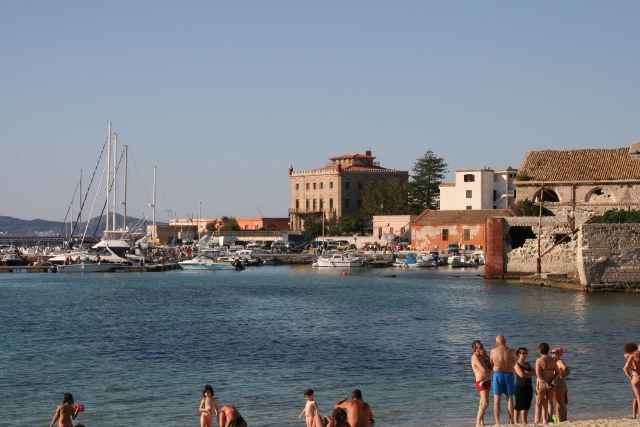 The beach in the harbour at Favignana