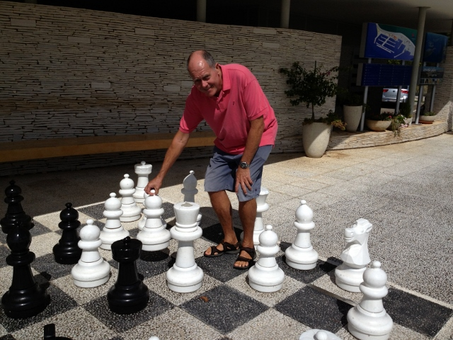 James playing chess at Marina Hramina