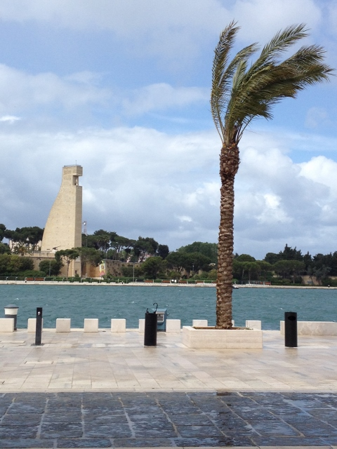 Windy Weather in Brindisi with the Sculpture of a Rudder in the background