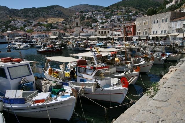 Fishing Boats and Hydra Town Quay