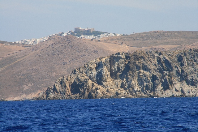 A distant view of the Chora and the fortress and monastery of St John the Divine