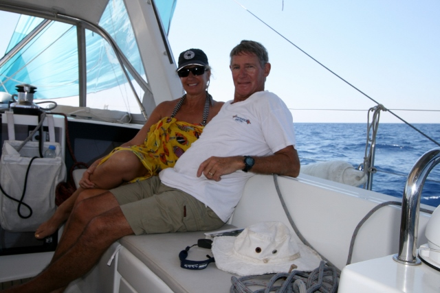 Sue and Swanno  sailing to Leros
