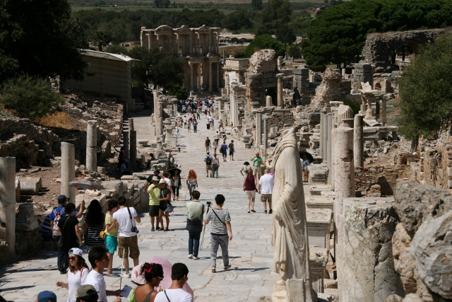 Busy Ephesus, cruise ships bring thousands of tourist every year.