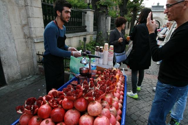 Drinking Fresh Squeezed Pomegranate Juice