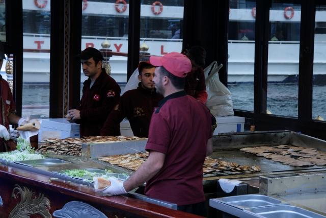 Mackerel Sandwiches at the Galata Bridge